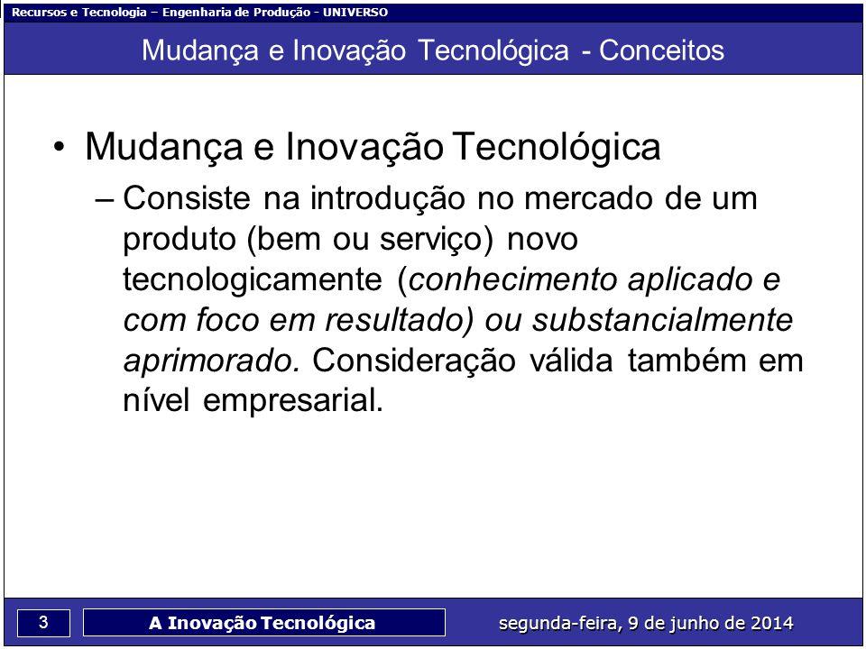 Recursos e Tecnologia – Engenharia de Produção - UNIVERSO 3 segunda-feira, 9 de junho de 2014 A Inovação Tecnológica Mudança e Inovação Tecnológica -