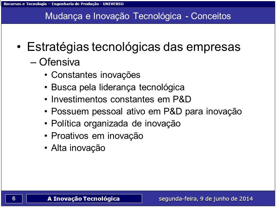 Recursos e Tecnologia – Engenharia de Produção - UNIVERSO 7 segunda-feira, 9 de junho de 2014 A Inovação Tecnológica Mudança e Inovação Tecnológica - Conceitos Estratégias tecnológicas das empresas –Defensiva Usa a experiência de pioneiros Reagem à introdução de novos produtos concorrentes com inovações Investimentos intermitentes em P&D para inovação Possuem pessoal ativo em P&D para inovação Reativos em inovação, Dependendo da competitividade, alta inovação