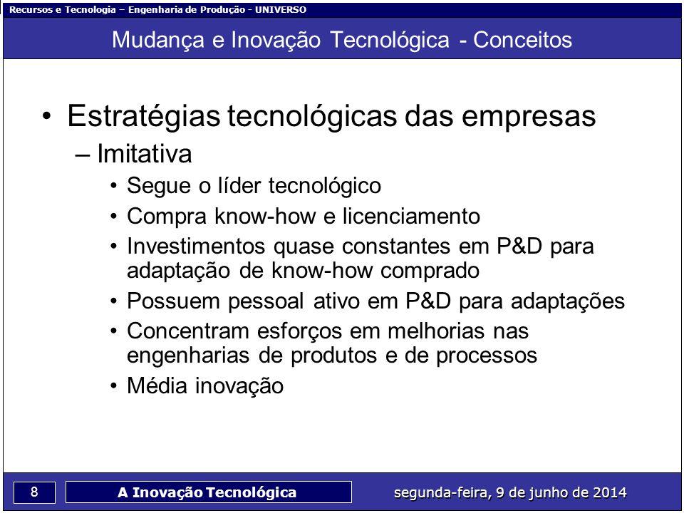 Recursos e Tecnologia – Engenharia de Produção - UNIVERSO 8 segunda-feira, 9 de junho de 2014 A Inovação Tecnológica Mudança e Inovação Tecnológica -