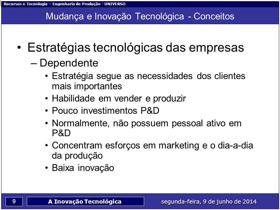 Recursos e Tecnologia – Engenharia de Produção - UNIVERSO 9 segunda-feira, 9 de junho de 2014 A Inovação Tecnológica Mudança e Inovação Tecnológica -