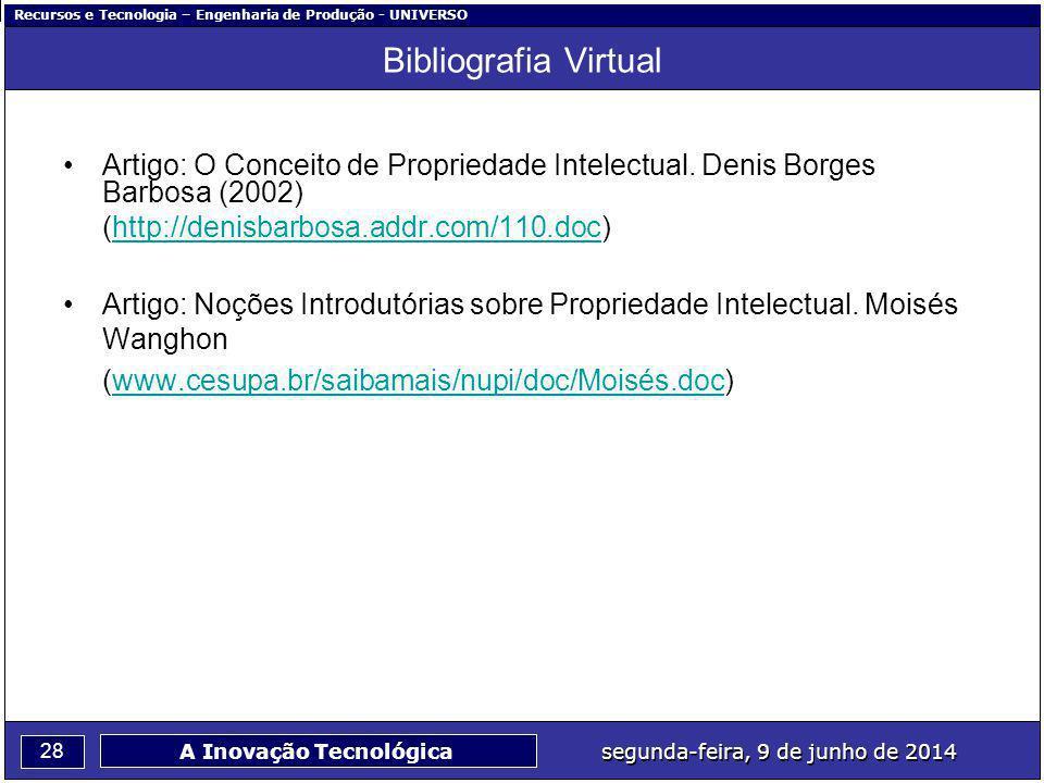 Recursos e Tecnologia – Engenharia de Produção - UNIVERSO 28 segunda-feira, 9 de junho de 2014 A Inovação Tecnológica Bibliografia Virtual Artigo: O Conceito de Propriedade Intelectual.