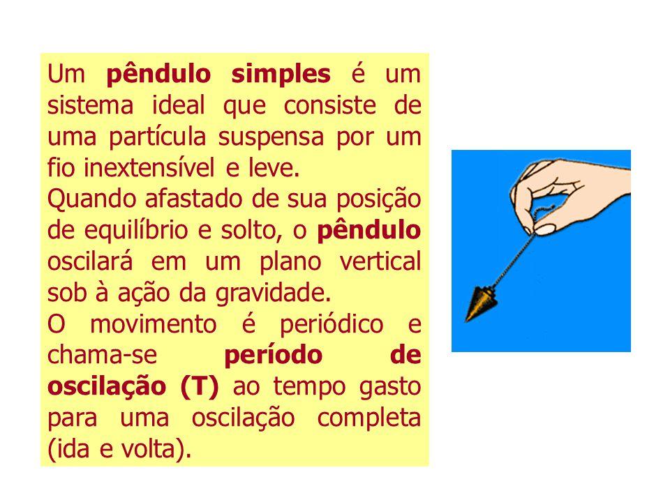 Um pêndulo simples é um sistema ideal que consiste de uma partícula suspensa por um fio inextensível e leve. Quando afastado de sua posição de equilíb