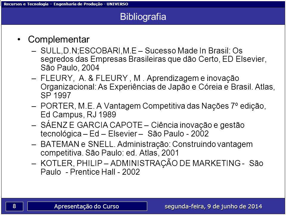 Recursos e Tecnologia – Engenharia de Produção - UNIVERSO 8 segunda-feira, 9 de junho de 2014 Apresentação do Curso Bibliografia Complementar –SULL,D.