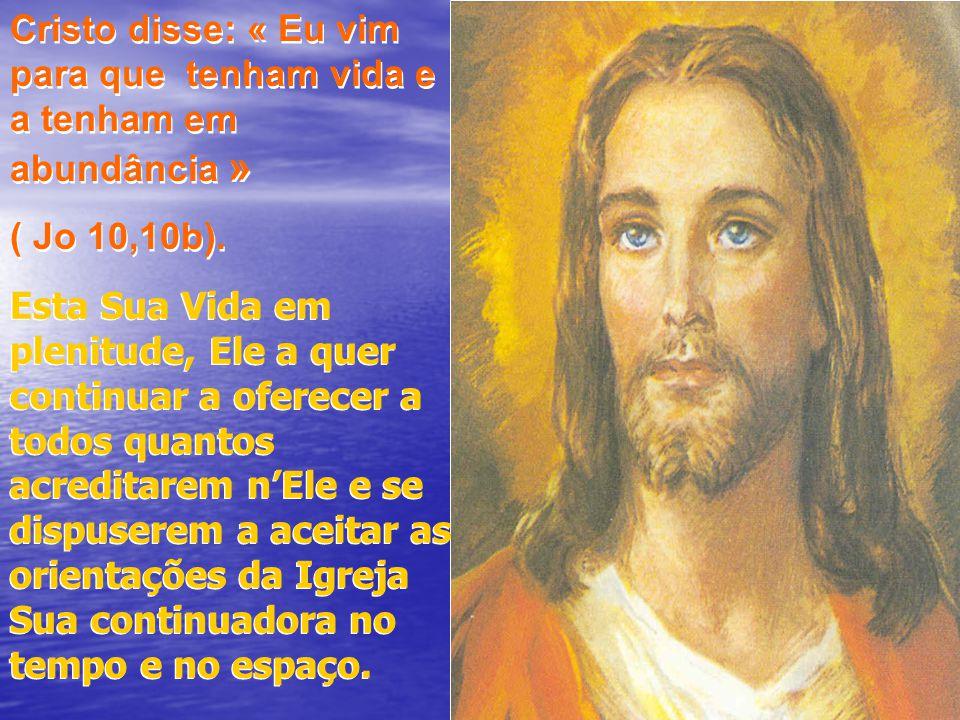 Cristo disse: « Eu vim para que tenham vida e a tenham em abundância » ( Jo 10,10b). Cristo disse: « Eu vim para que tenham vida e a tenham em abundân