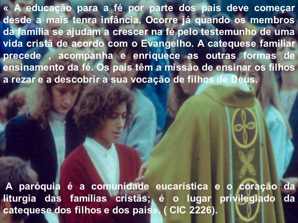 « A educação para a fé por parte dos pais deve começar desde a mais tenra infância. Ocorre já quando os membros da família se ajudam a crescer na fé p