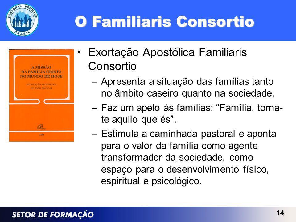 O Familiaris Consortio Exortação Apostólica Familiaris Consortio –Apresenta a situação das famílias tanto no âmbito caseiro quanto na sociedade.