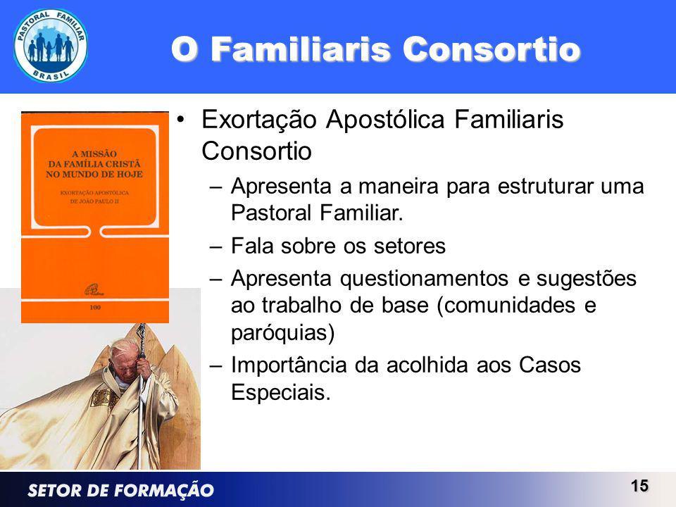 O Familiaris Consortio Exortação Apostólica Familiaris Consortio –Apresenta a maneira para estruturar uma Pastoral Familiar.