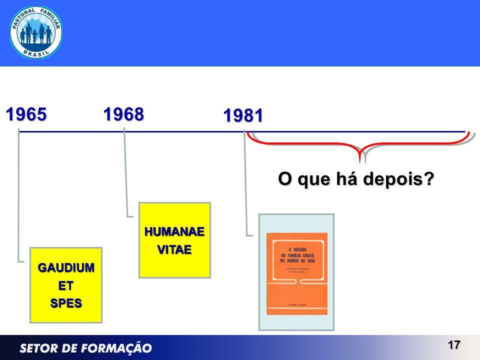 17 1981 GAUDIUMETSPES 1965 HUMANAEVITAE 1968 O que há depois