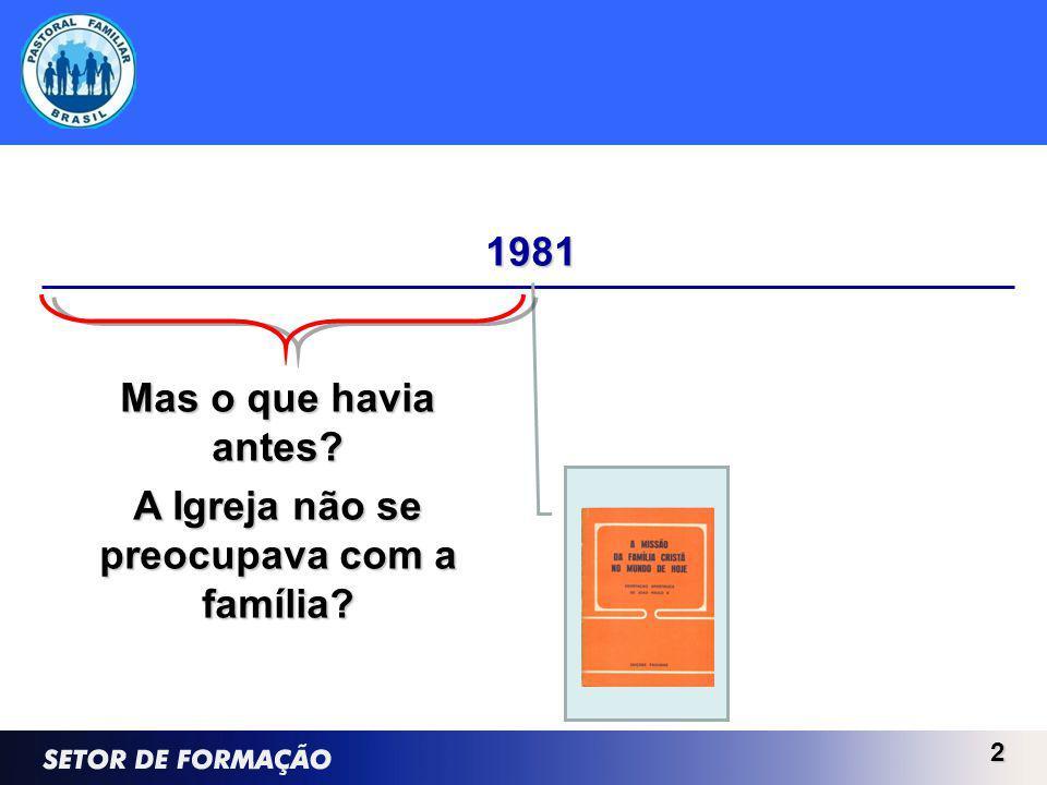 2 1981 Mas o que havia antes A Igreja não se preocupava com a família