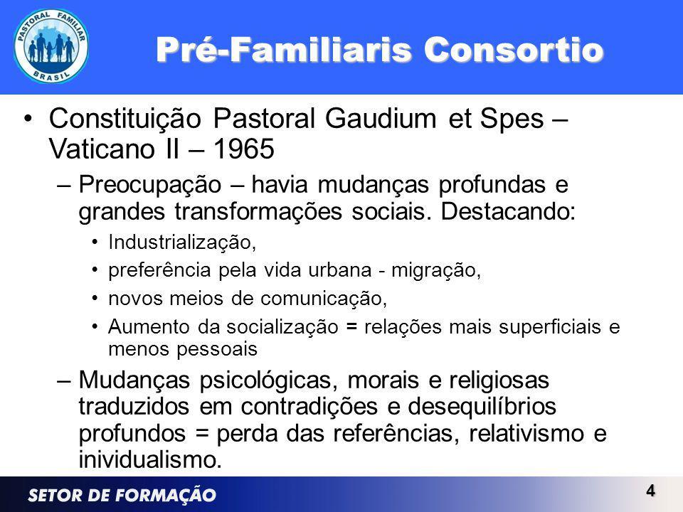 Pré-Familiaris Consortio Constituição Pastoral Gaudium et Spes – Vaticano II – 1965 –Preocupação – havia mudanças profundas e grandes transformações sociais.