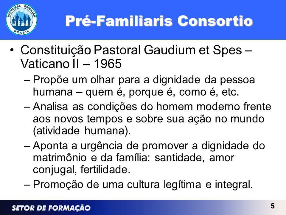 Pré-Familiaris Consortio Constituição Pastoral Gaudium et Spes – Vaticano II – 1965 –Propõe um olhar para a dignidade da pessoa humana – quem é, porque é, como é, etc.