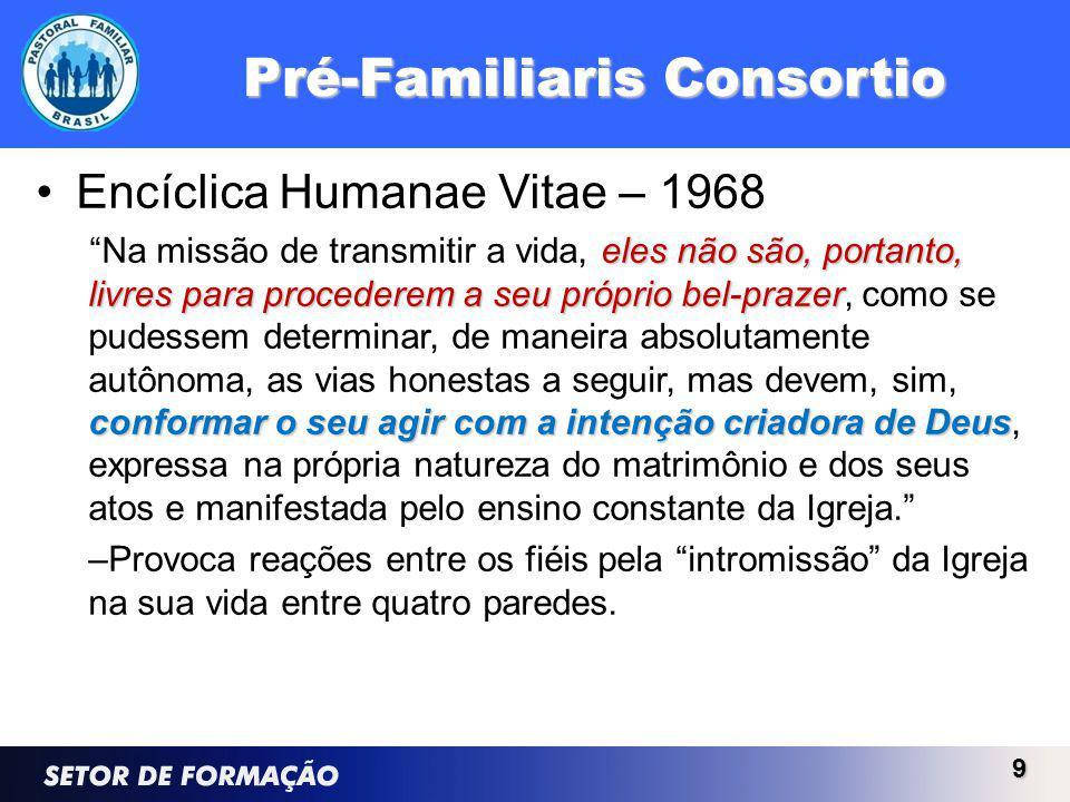 Pré-Familiaris Consortio Encíclica Humanae Vitae – 1968 eles não são, portanto, livres para procederem a seu próprio bel-prazer conformar o seu agir com a intenção criadora de Deus Na missão de transmitir a vida, eles não são, portanto, livres para procederem a seu próprio bel-prazer, como se pudessem determinar, de maneira absolutamente autônoma, as vias honestas a seguir, mas devem, sim, conformar o seu agir com a intenção criadora de Deus, expressa na própria natureza do matrimônio e dos seus atos e manifestada pelo ensino constante da Igreja.