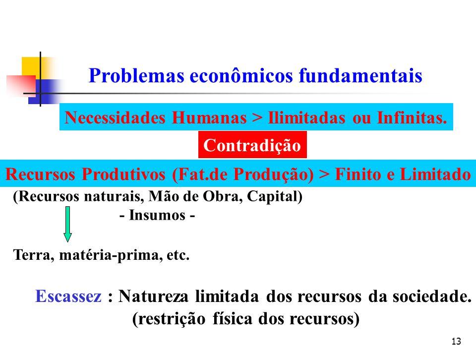 13 Problemas econômicos fundamentais Necessidades Humanas > Ilimitadas ou Infinitas. Recursos Produtivos (Fat.de Produção) > Finito e Limitado (Recurs