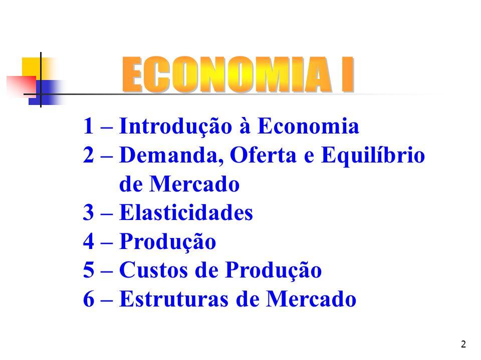 2 1 – Introdução à Economia 2 – Demanda, Oferta e Equilíbrio de Mercado 3 – Elasticidades 4 – Produção 5 – Custos de Produção 6 – Estruturas de Mercad