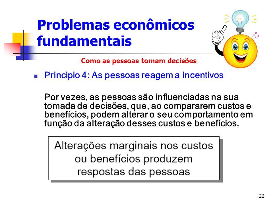 22 Problemas econômicos fundamentais Principio 4: As pessoas reagem a incentivos Por vezes, as pessoas são influenciadas na sua tomada de decisões, qu