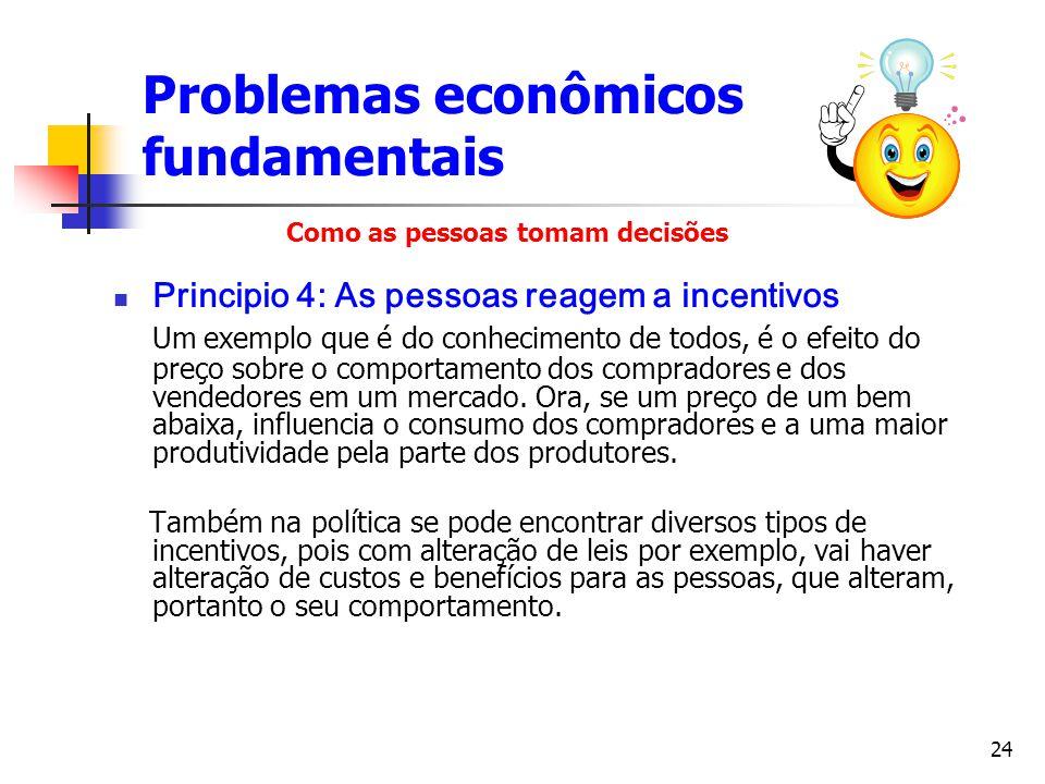 24 Principio 4: As pessoas reagem a incentivos Um exemplo que é do conhecimento de todos, é o efeito do preço sobre o comportamento dos compradores e