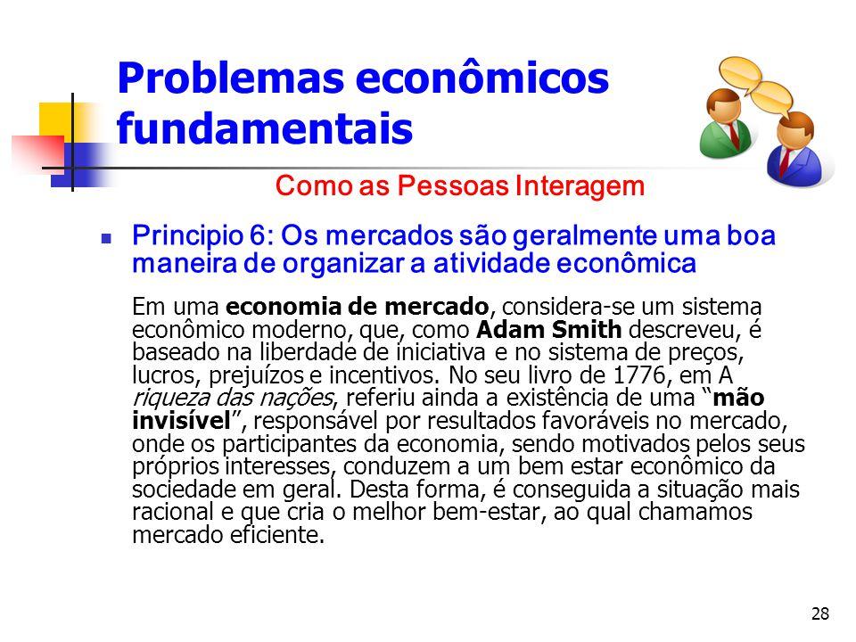 28 Problemas econômicos fundamentais Principio 6: Os mercados são geralmente uma boa maneira de organizar a atividade econômica Em uma economia de mer