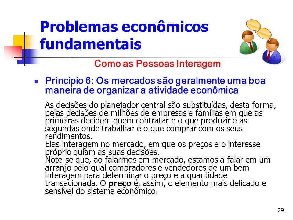 29 Problemas econômicos fundamentais Principio 6: Os mercados são geralmente uma boa maneira de organizar a atividade econômica As decisões do planeja