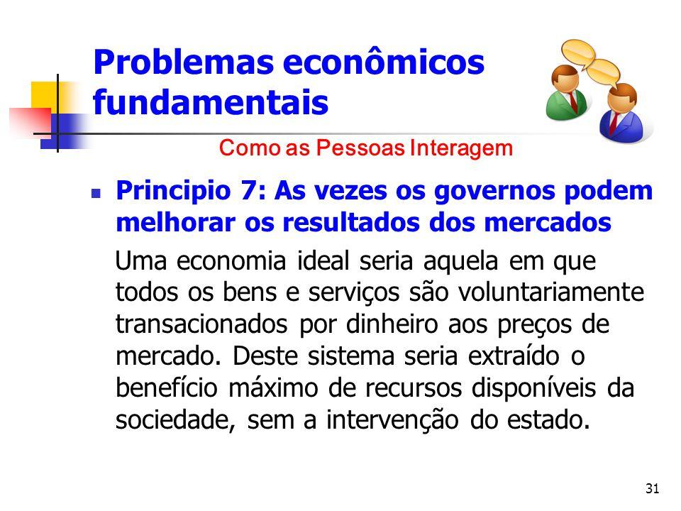 31 Problemas econômicos fundamentais Principio 7: As vezes os governos podem melhorar os resultados dos mercados Uma economia ideal seria aquela em qu
