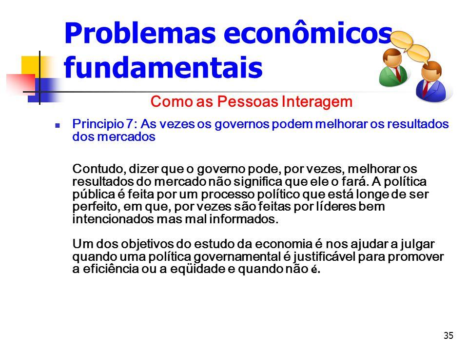 35 Problemas econômicos fundamentais Principio 7: As vezes os governos podem melhorar os resultados dos mercados Contudo, dizer que o governo pode, po