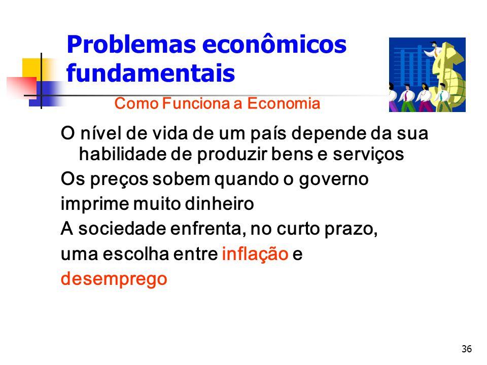 36 Problemas econômicos fundamentais O nível de vida de um país depende da sua habilidade de produzir bens e serviços Os preços sobem quando o governo