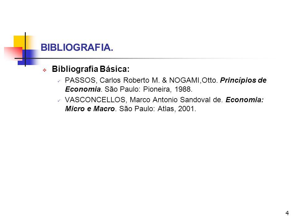 4 BIBLIOGRAFIA. Bibliografia Básica: PASSOS, Carlos Roberto M. & NOGAMI,Otto. Princípios de Economia. São Paulo: Pioneira, 1988. VASCONCELLOS, Marco A
