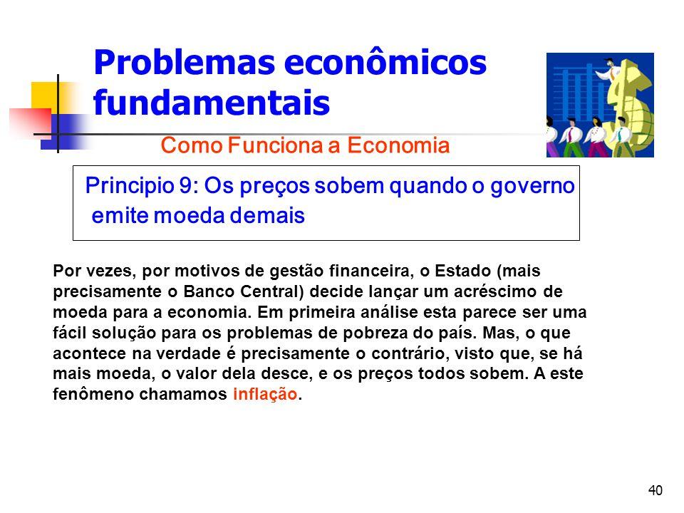 40 Problemas econômicos fundamentais Principio 9: Os preços sobem quando o governo emite moeda demais Como Funciona a Economia Por vezes, por motivos