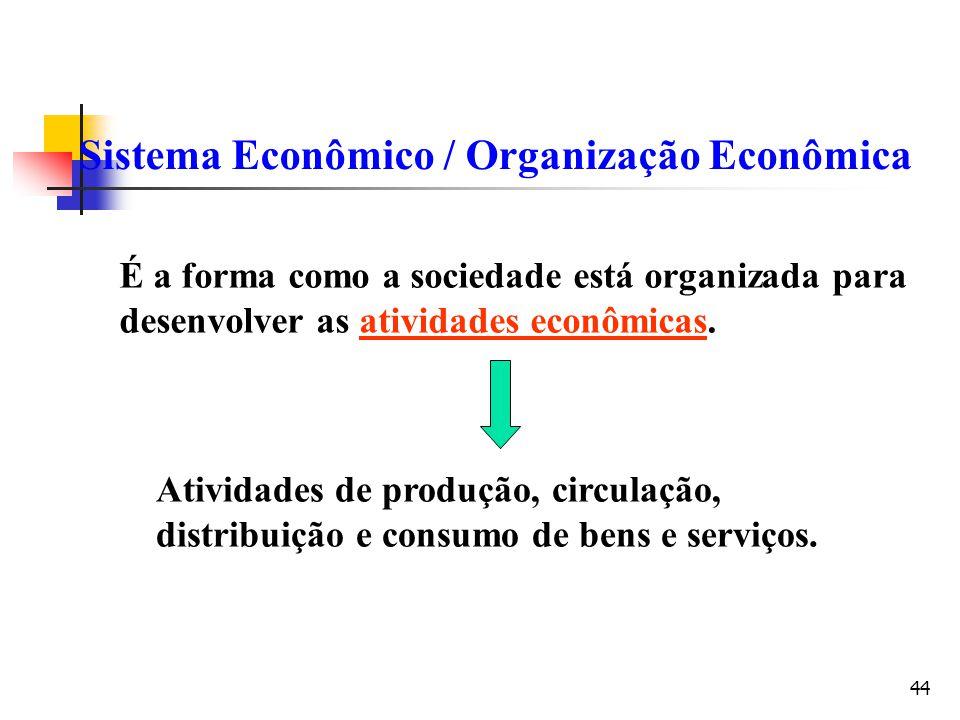 44 Sistema Econômico / Organização Econômica É a forma como a sociedade está organizada para desenvolver as atividades econômicas. Atividades de produ