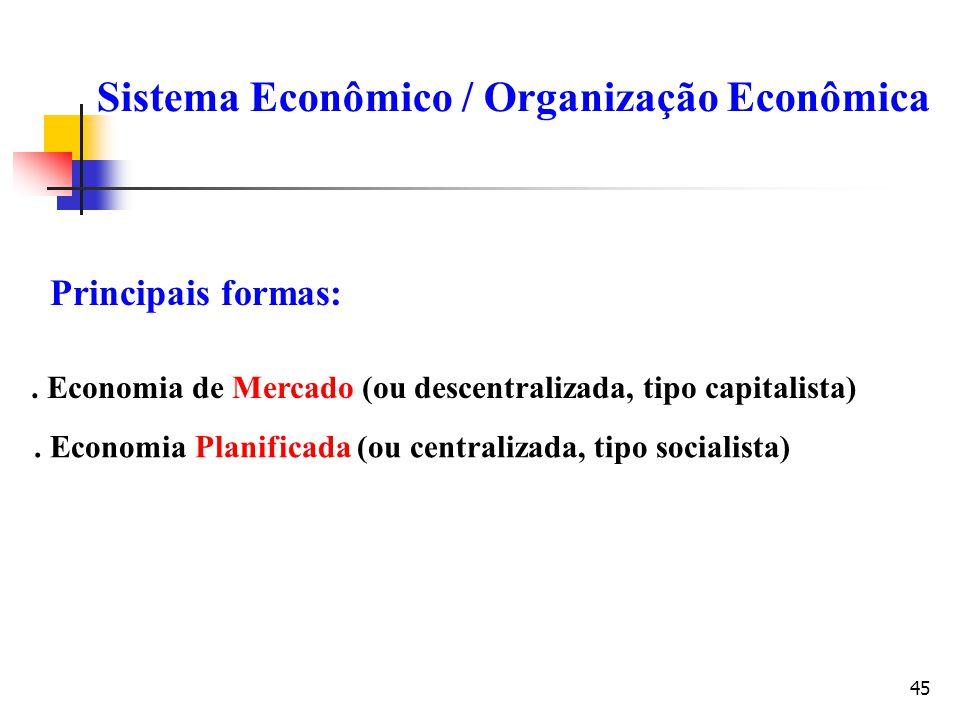 45 Sistema Econômico / Organização Econômica Principais formas:. Economia de Mercado (ou descentralizada, tipo capitalista). Economia Planificada (ou