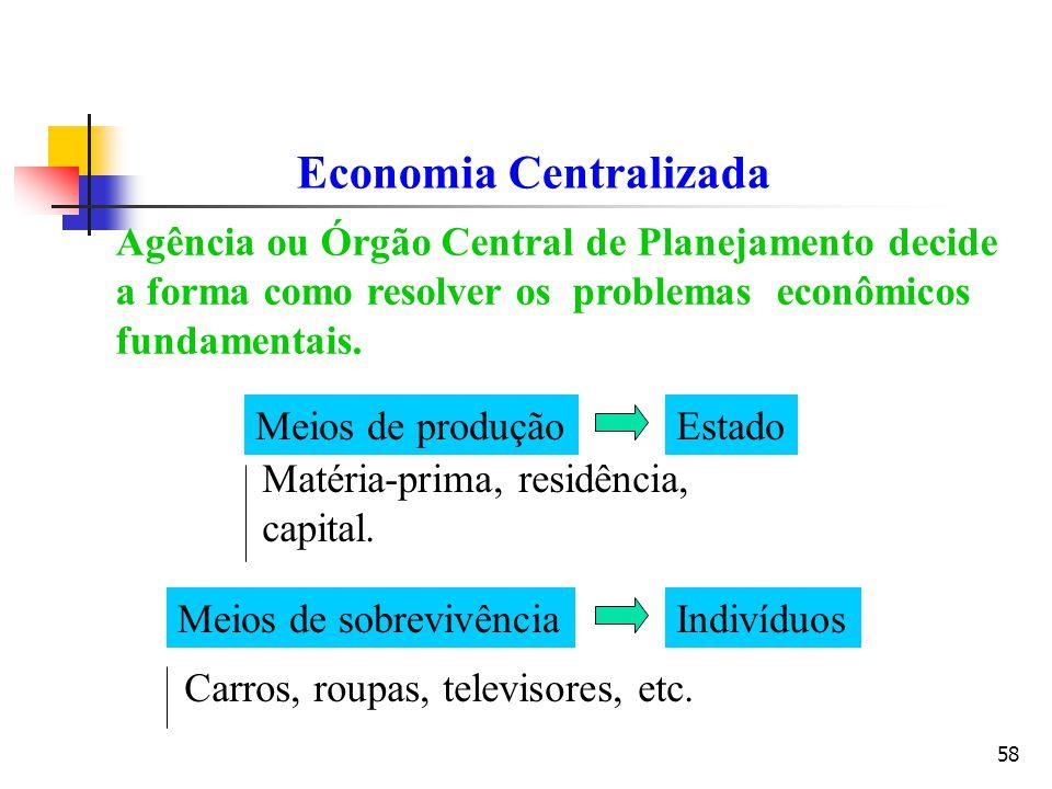 58 Economia Centralizada Agência ou Órgão Central de Planejamento decide a forma como resolver os problemas econômicos fundamentais. Meios de produção