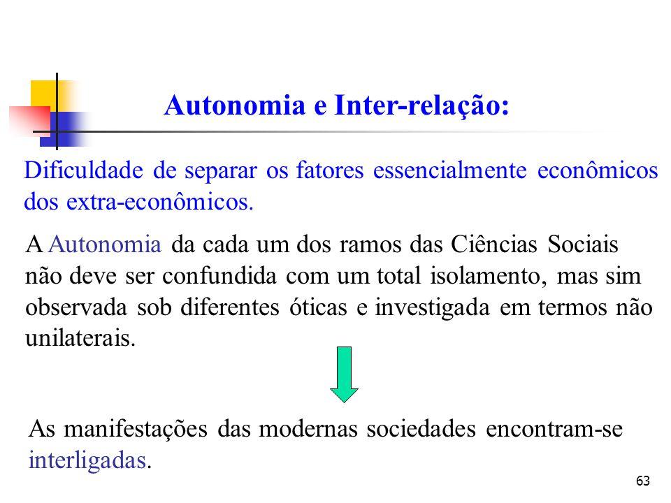 63 Autonomia e Inter-relação: Dificuldade de separar os fatores essencialmente econômicos dos extra-econômicos. A Autonomia da cada um dos ramos das C