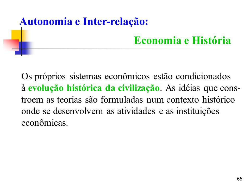 66 Economia e História Os próprios sistemas econômicos estão condicionados à evolução histórica da civilização. As idéias que cons- troem as teorias s