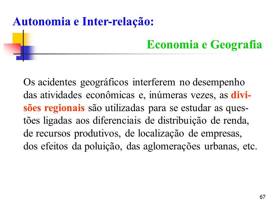 67 Economia e Geografia Os acidentes geográficos interferem no desempenho das atividades econômicas e, inúmeras vezes, as divi- sões regionais são uti