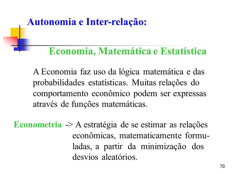 70 Economia, Matemática e Estatística A Economia faz uso da lógica matemática e das probabilidades estatísticas. Muitas relações do comportamento econ