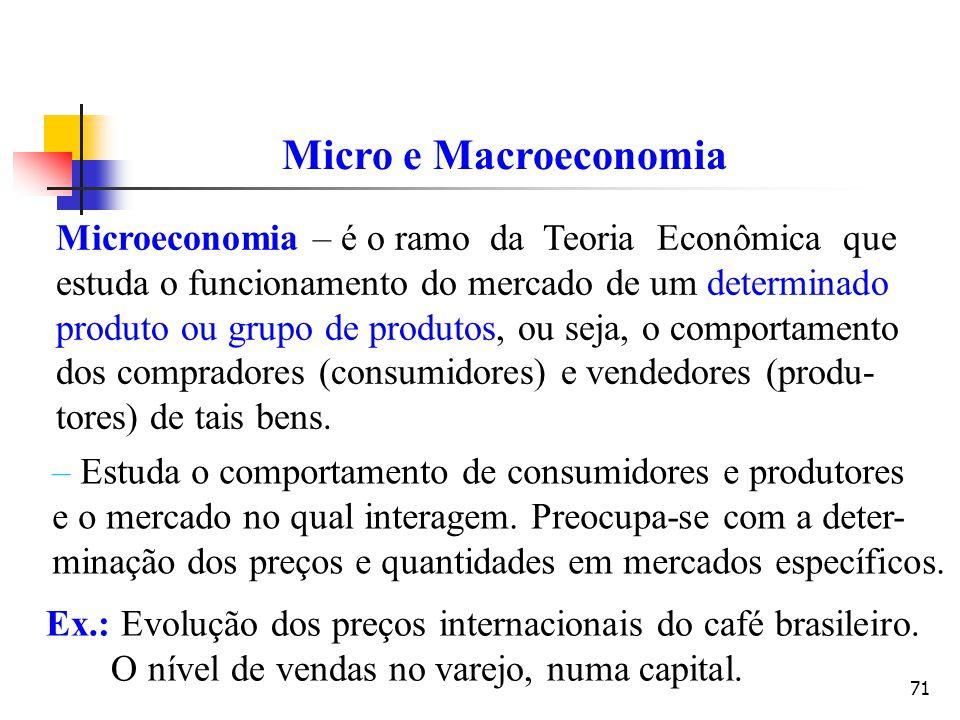 71 Micro e Macroeconomia Microeconomia – é o ramo da Teoria Econômica que estuda o funcionamento do mercado de um determinado produto ou grupo de prod