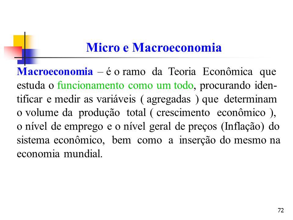 72 Macroeconomia – é o ramo da Teoria Econômica que estuda o funcionamento como um todo, procurando iden- tificar e medir as variáveis ( agregadas ) q