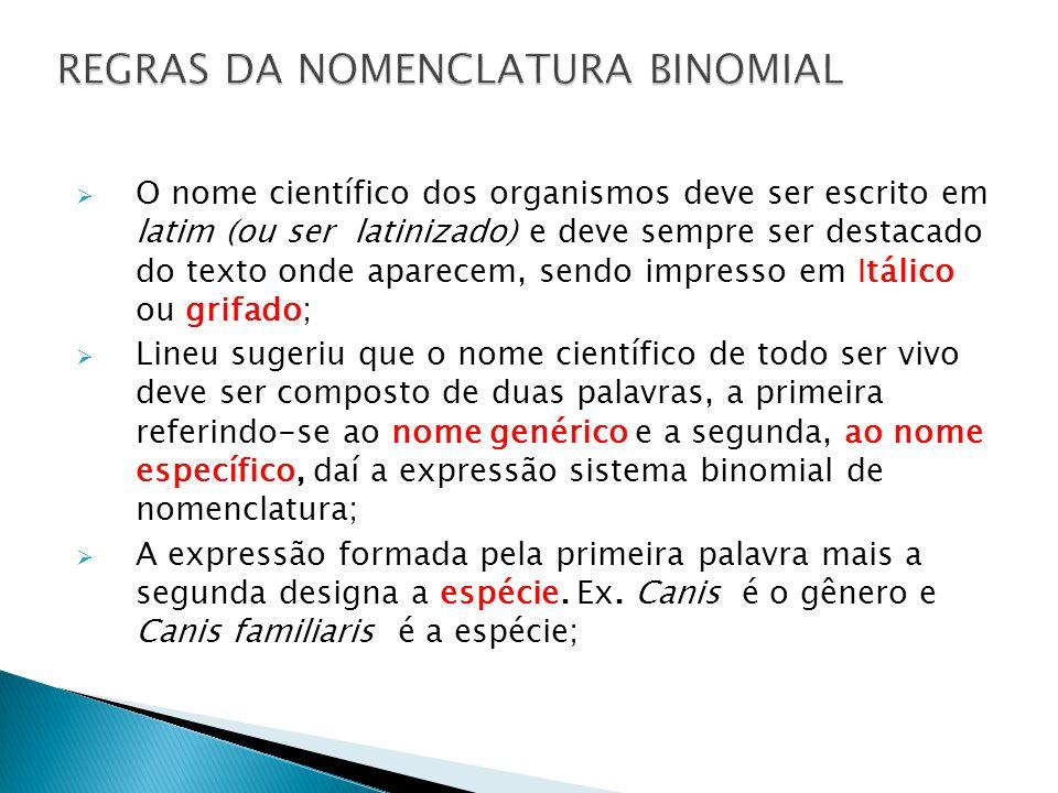 O nome científico dos organismos deve ser escrito em latim (ou ser latinizado) e deve sempre ser destacado do texto onde aparecem, sendo impresso em I