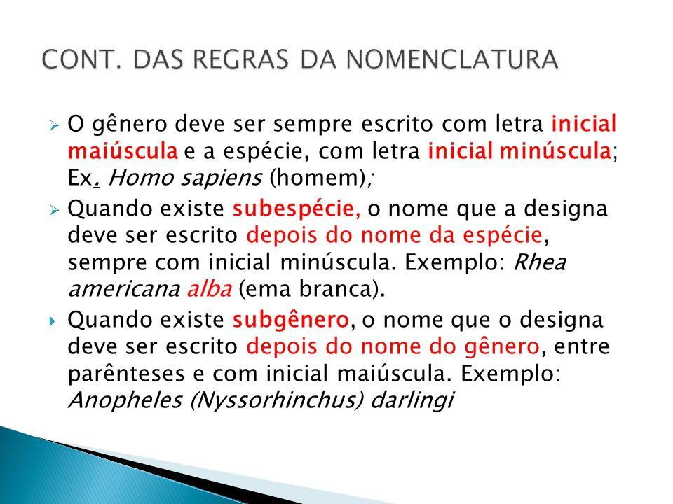 O gênero deve ser sempre escrito com letra inicial maiúscula e a espécie, com letra inicial minúscula; Ex. Homo sapiens (homem); Quando existe subespé