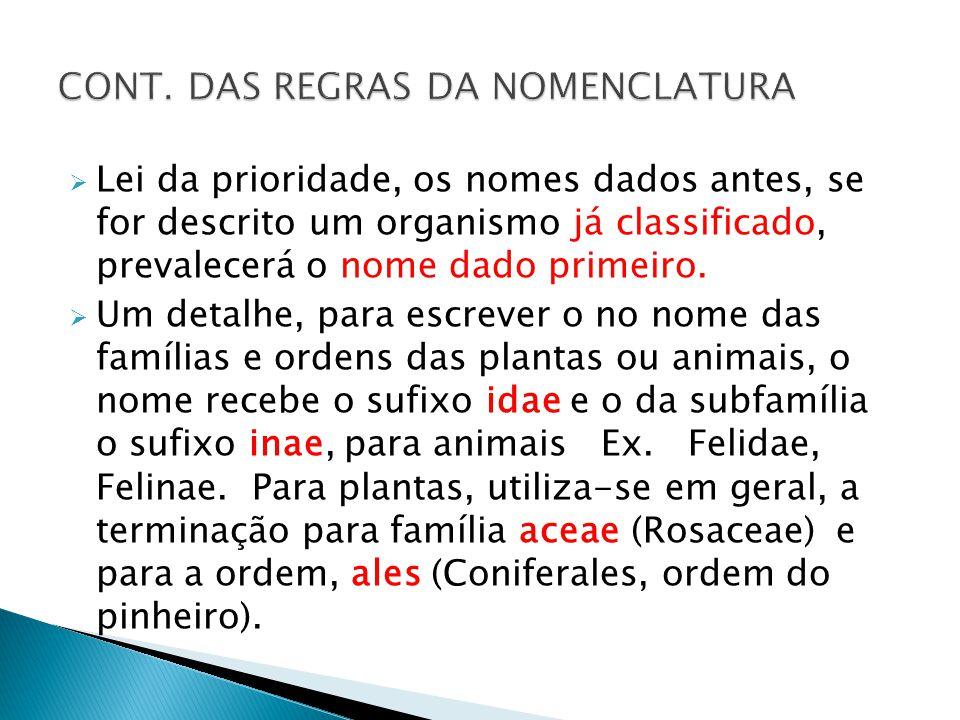 Lei da prioridade, os nomes dados antes, se for descrito um organismo já classificado, prevalecerá o nome dado primeiro.