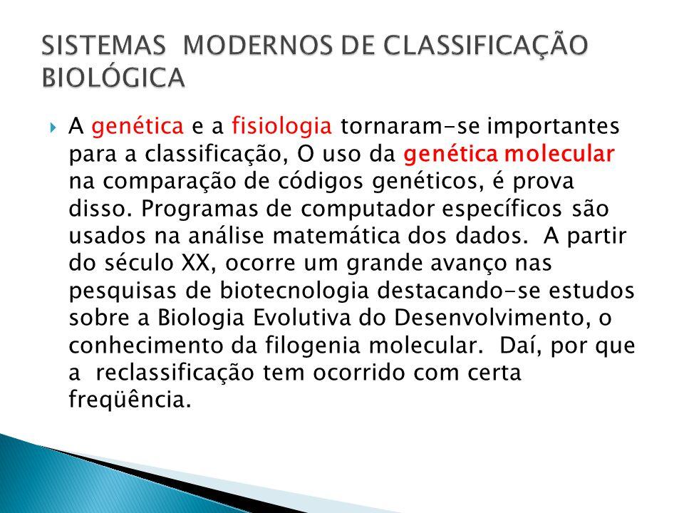 A genética e a fisiologia tornaram-se importantes para a classificação, O uso da genética molecular na comparação de códigos genéticos, é prova disso.