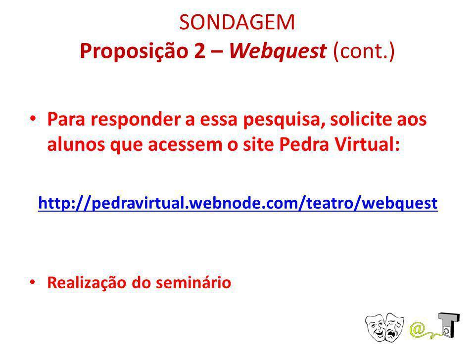 SONDAGEM Proposição 2 – Webquest (cont.) Para responder a essa pesquisa, solicite aos alunos que acessem o site Pedra Virtual: http://pedravirtual.web
