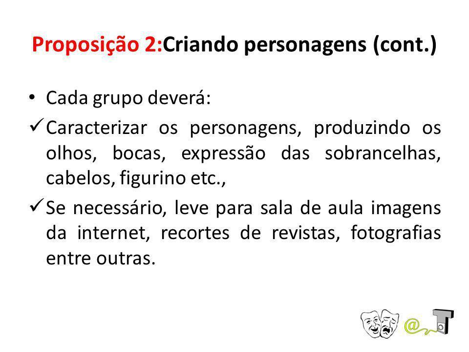 Proposição 2:Criando personagens (cont.) Cada grupo deverá: Caracterizar os personagens, produzindo os olhos, bocas, expressão das sobrancelhas, cabel