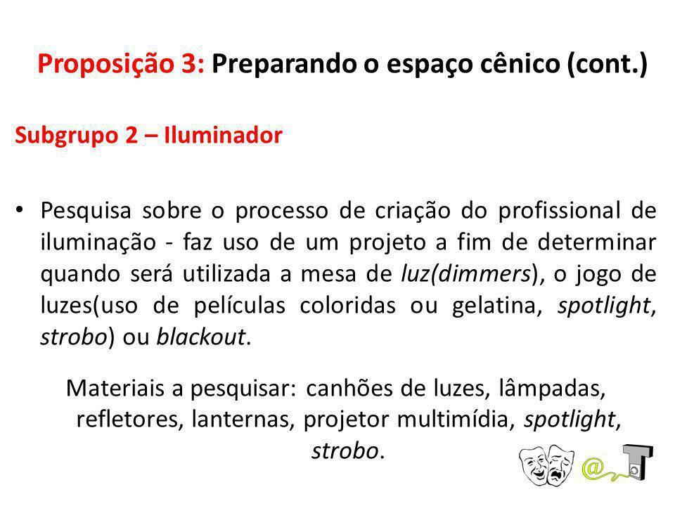 Proposição 3: Preparando o espaço cênico (cont.) Subgrupo 2 – Iluminador Pesquisa sobre o processo de criação do profissional de iluminação - faz uso