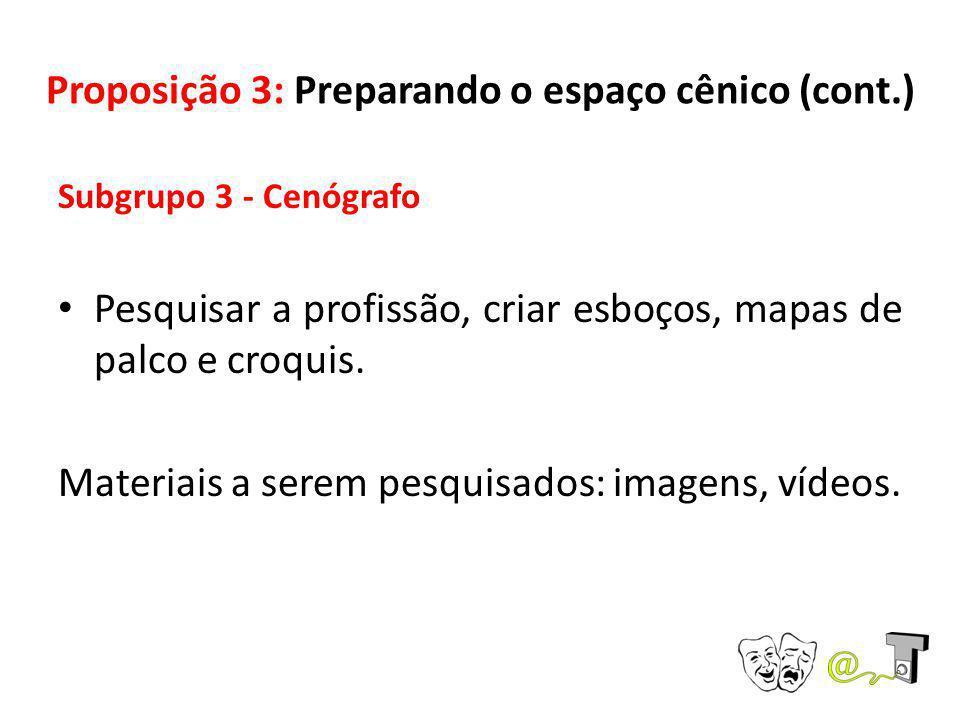 Proposição 3: Preparando o espaço cênico (cont.) Subgrupo 3 - Cenógrafo Pesquisar a profissão, criar esboços, mapas de palco e croquis. Materiais a se