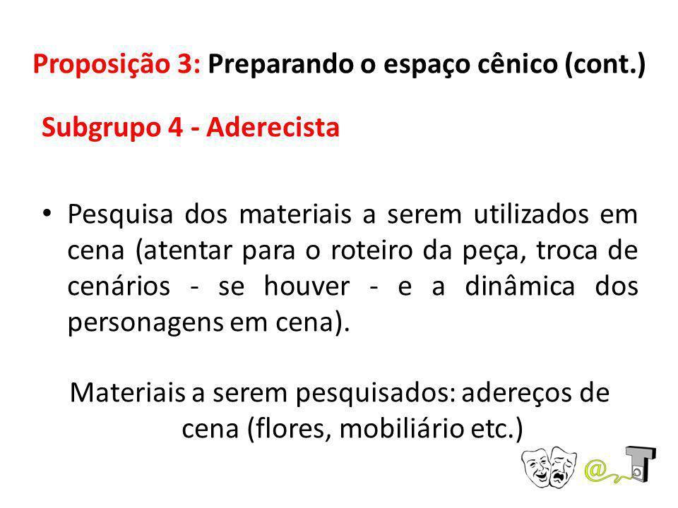 Proposição 3: Preparando o espaço cênico (cont.) Subgrupo 4 - Aderecista Pesquisa dos materiais a serem utilizados em cena (atentar para o roteiro da