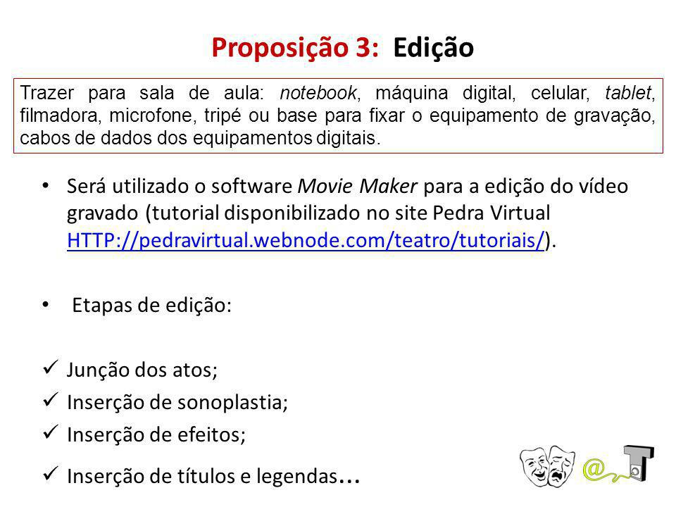 Proposição 3: Edição Será utilizado o software Movie Maker para a edição do vídeo gravado (tutorial disponibilizado no site Pedra Virtual HTTP://pedravirtual.webnode.com/teatro/tutoriais/).