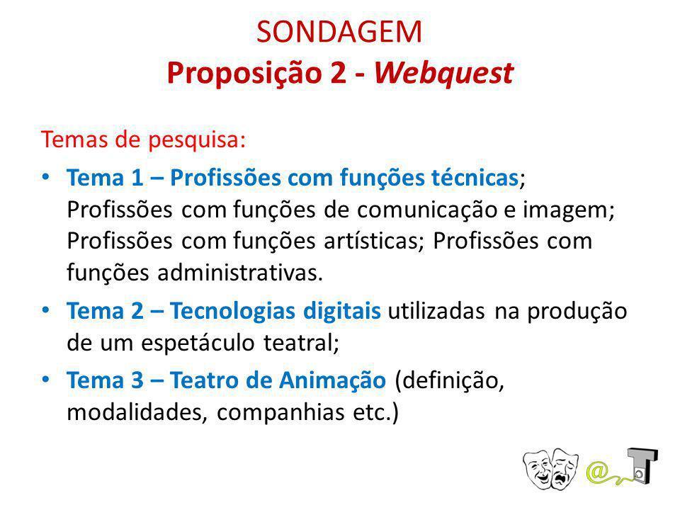 SONDAGEM Proposição 2 - Webquest Temas de pesquisa: Tema 1 – Profissões com funções técnicas; Profissões com funções de comunicação e imagem; Profissõ