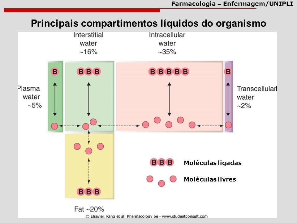 Farmacologia – Enfermagem/UNIPLI Principais compartimentos líquidos do organismo Moléculas ligadas Moléculas livres