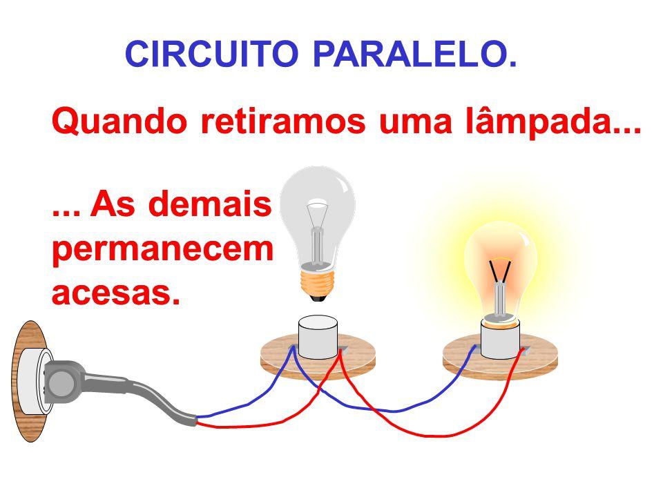 Quando retiramos uma lâmpada.... Quando retiramos uma lâmpada.... CIRCUITO PARALELO.