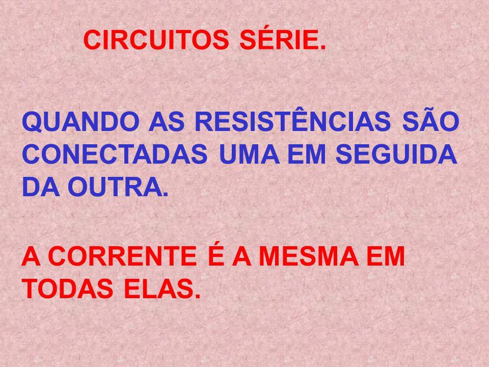 QUANDO AS RESISTÊNCIAS SÃO CONECTADAS UMA EM SEGUIDA DA OUTRA.